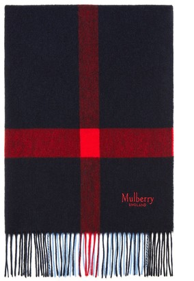 Mulberry Large Check Lambswool Scarf Beige Lambswool