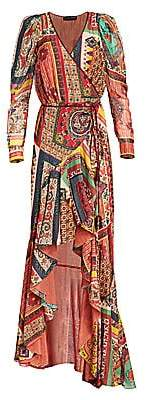 Etro Women's Mosaic Tile-Print High-Low Gown