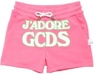 GCDS Rubber Logo Cotton Sweat Shorts