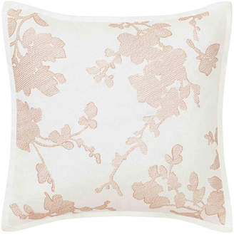 Laura Ashley Lorene Crewel Embroidered Blush Square Pillow Bedding