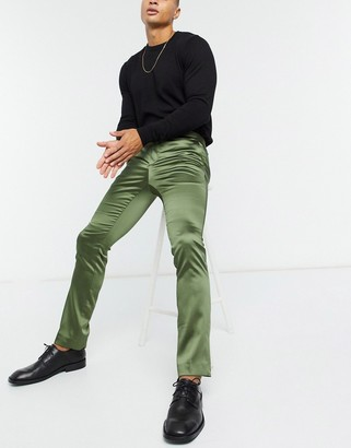Twisted Tailor satin suit pants in khaki