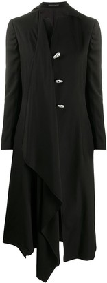 Yohji Yamamoto Skull-Button Coat With Draped Detailing