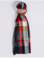 M&S Collection Elevated Check Side Fringe Scarf