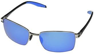 Maui Jim Cove Park (Silver w/ Black Temples & Brown Rubber) Fashion Sunglasses