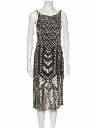 Needle & Thread Printed Midi Length Dress Grey