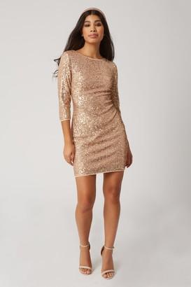 Little Mistress Chalet Gold Sequin Bodycon Dress
