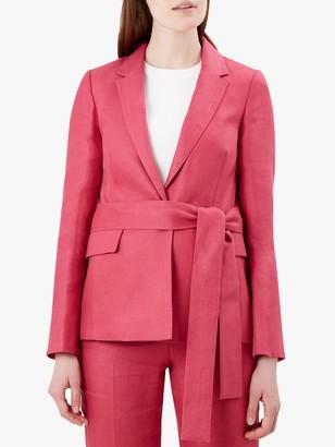 Hobbs Anthea Linen Jacket, Rasberry Pink
