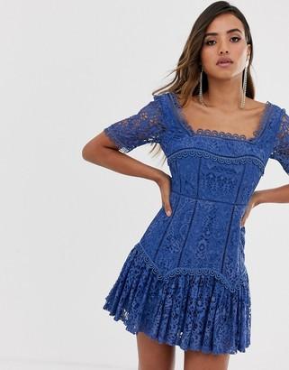 Asos Design DESIGN square neck mini dress in lace with flute hem-Blue