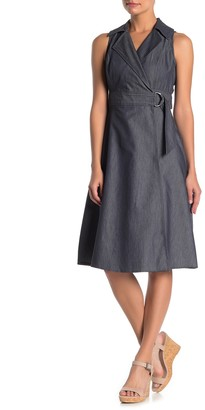 London Times Denim Belted Fit & Flare Dress (Petite)