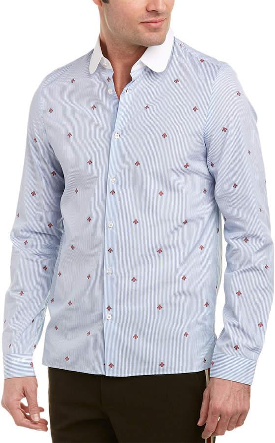 Gucci Bee Fil Coupe Cambridge Woven Shirt
