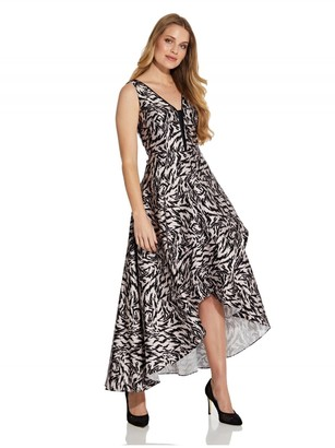 Adrianna Papell Animal Printed Mikado Gown in Blacl and Taupe
