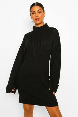 boohoo Maxi Wide Sleeve Wide Rib sweater Dress