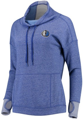 Antigua Women's Heathered Royal Dallas Mavericks Snap Cowl Neck Pullover Sweatshirt