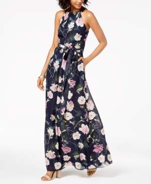 SL Fashions Floral-Print Chiffon Maxi Dress