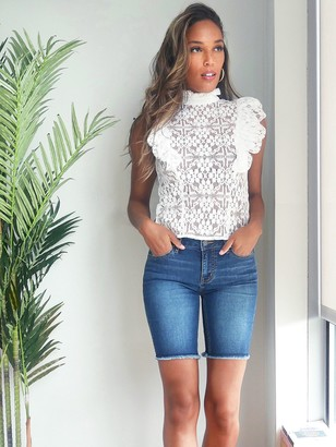 New York & Co. Ruffled Lace Blouse - 7th Avenue