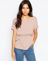 Vero Moda Short Sleeve Top With Lace Panel