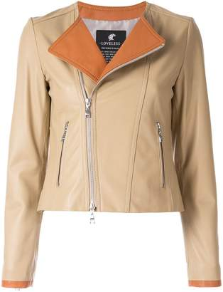 Contrast Panel Leather Jacket