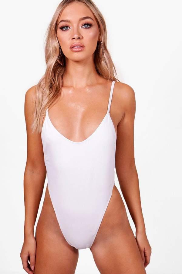 boohoo Super High Leg Brazilian Swimsuit
