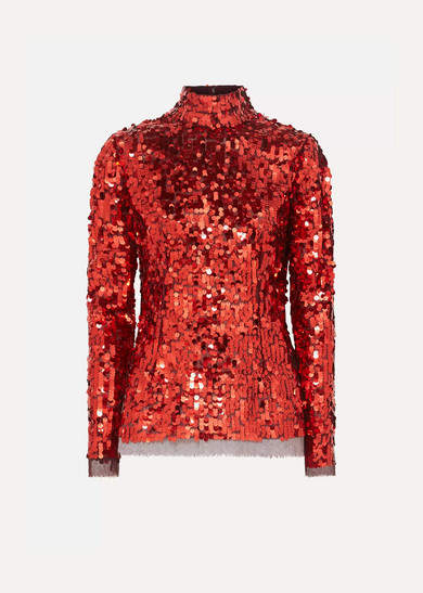 Dolce & Gabbana Sequined Tulle Top - Red