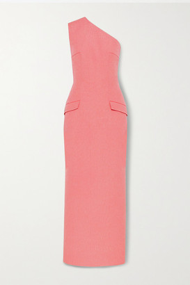 Emilia Wickstead Milena One-shoulder Cloque Maxi Dress - Coral