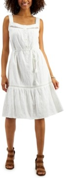 Style&Co. Style & Co Cotton Belted Tiered Dress, In Regular and Petite, Created for Macy's
