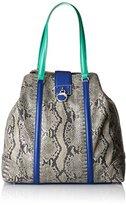 Roberto Cavalli Cavalli Women's Large shopping bag Luxe Cruise 003 Tote Bag Multicolour Mehrfarbig (Royal Blue/Green F64)