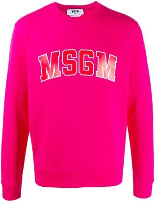 MSGM College logo-print cotton sweatshirt