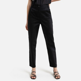La Redoute Collections Cotton Satin Slim-Fit Trousers, Length 26.5""
