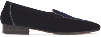 The Row Adam Leather-trimmed Velvet Loafers