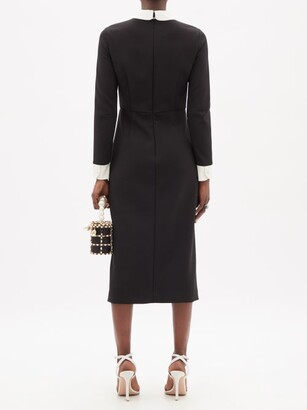 RED Valentino Bow-neck Slit-hem Crepe Midi Dress - Black