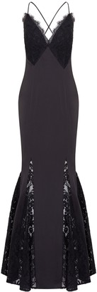 Aidan Mattox Lace And Liquid Satin Dress