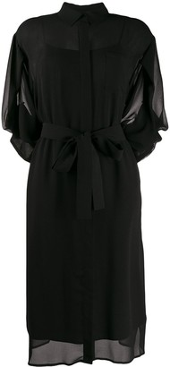 DKNY Belted Sheer Shirt Dress