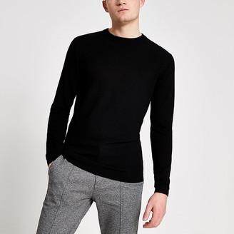 River Island Black long sleeve slim fit knitted jumper