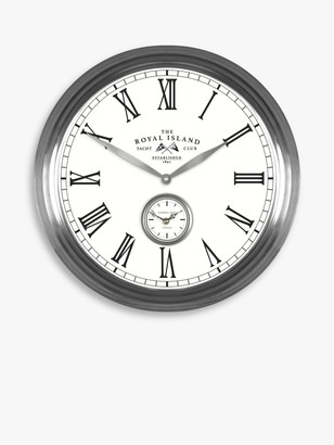 Thomas Laboratories Kent Greenwich Royal Island Yacht Club Roman Numerals Analogue Wall Clock, 49cm, Pewter
