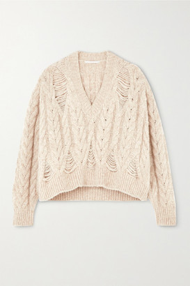 Stella McCartney Distressed Cable-knit Alpaca-blend Sweater - Beige