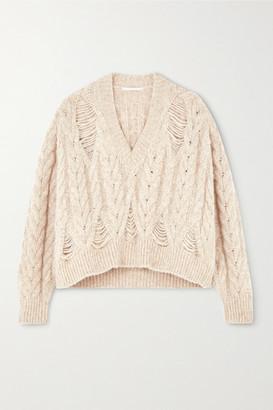 Stella McCartney Distressed Cable-knit Alpaca-blend Sweater - Beige