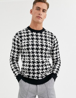 Jack and Jones houndstooth crew neck knitted jumper in black