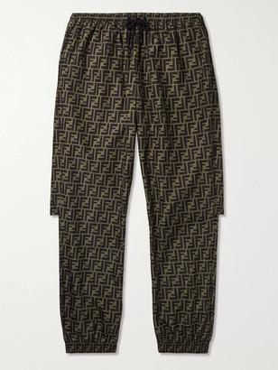 Fendi Logo-Print Tapered Shell Sweatpants - Men - Brown