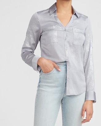 Express Slim Fit Metallic Portofino Shirt