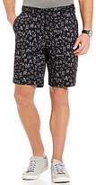 Armani Exchange Flat-Front Branded Print Twill Shorts