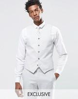Feraud Premium 55% Linen Waistcoat In Pale Steel Grey
