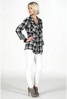 Kendra Black and Gray Plaid Gauze Shirt-!