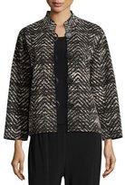 Caroline Rose Boxy Lightweight Herringbone Jacket, Plus Size