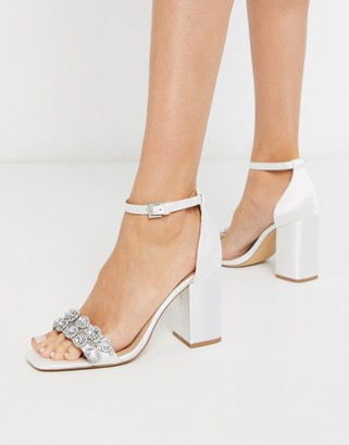 London Rebel embellished bridal block heel sandal in ivory-Cream