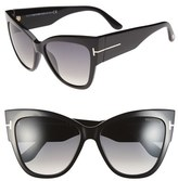Tom Ford Women's Anoushka 57Mm Gradient Cat Eye Sunglasses - Shiny Black/ Gradient Grey