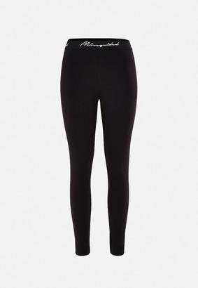 Missguided Plus Size Black Msgd Tape Leggings
