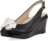 Taryn Rose Star Patent Flower Slingback Wedge Sandal