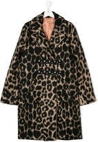 NÂo21 Kids teen leopard print coat