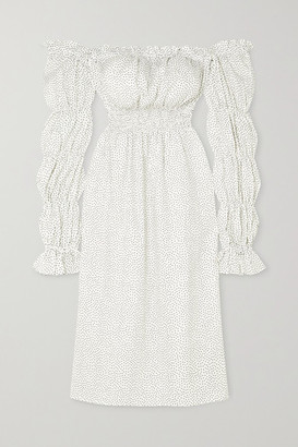 Sleeper Michelin Off-the-shoulder Shirred Polka-dot Linen Midi Dress - White