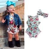 LUNIWEI Baby Girls Floral Bodysuit Romper Jumpsuit Sunsuit